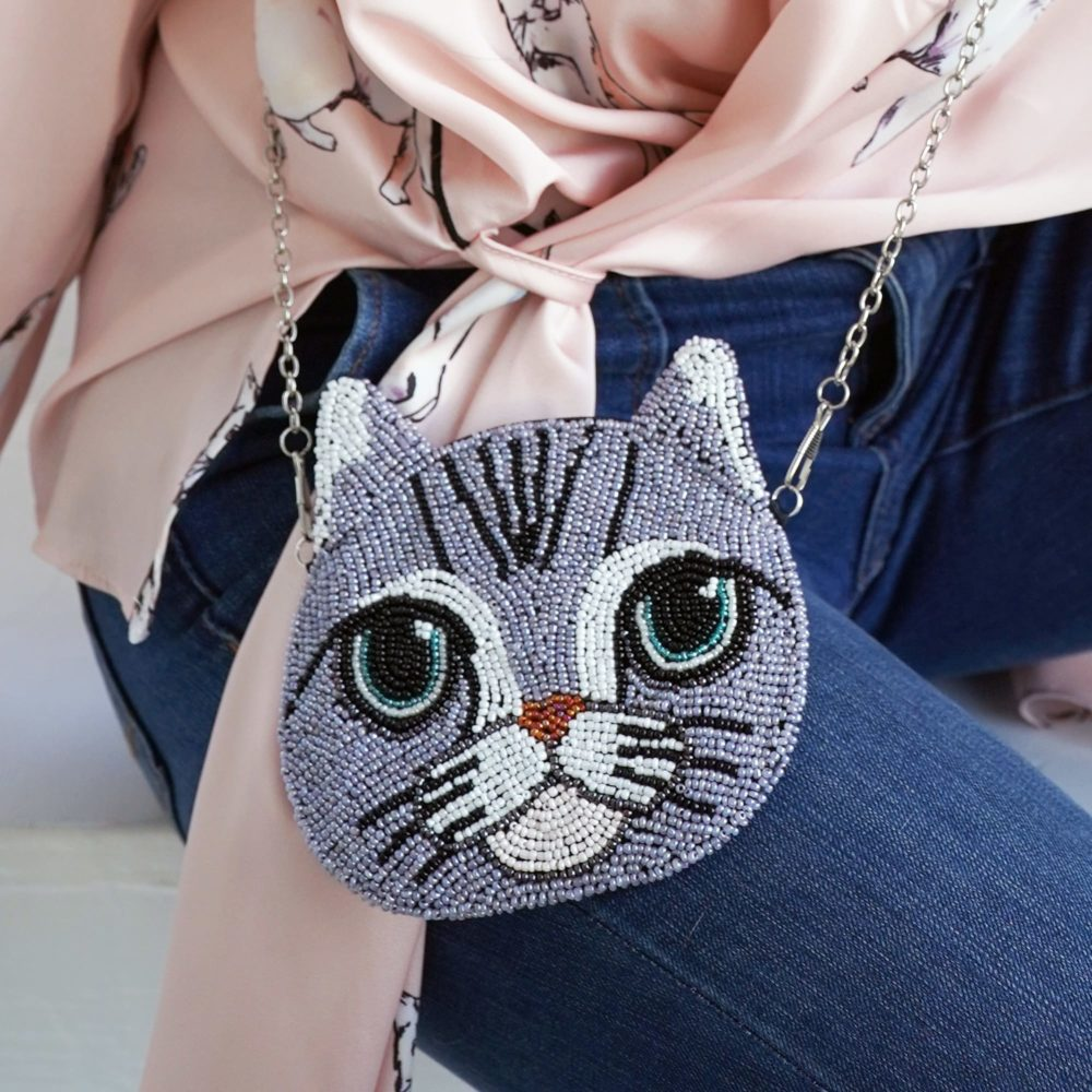 BABY KITTY BEADED EVENING BAG