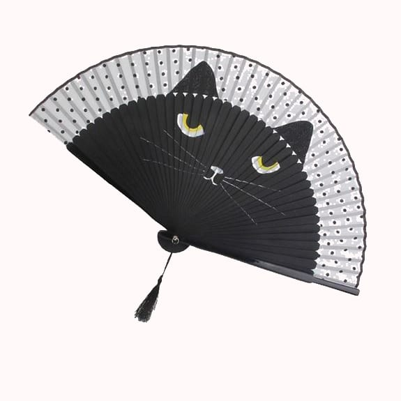 COOL KITTY WOOD & SILK FAN