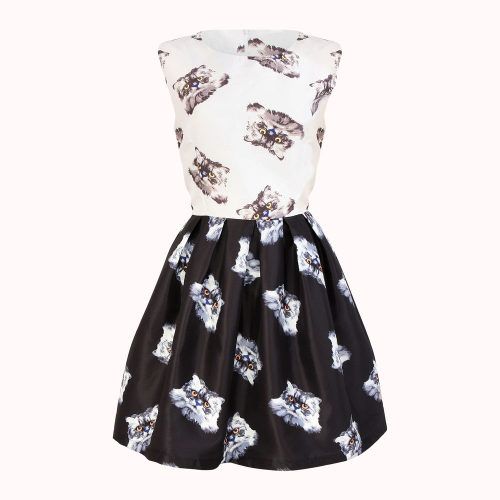 BLACK AND WHITE FLOUNCE SKIRT DRESS