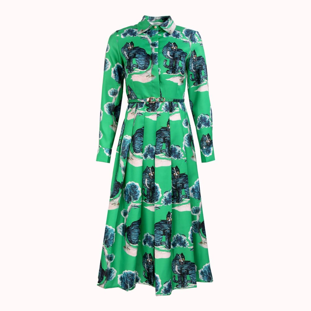 GREEN CAT PAINTING DRESS