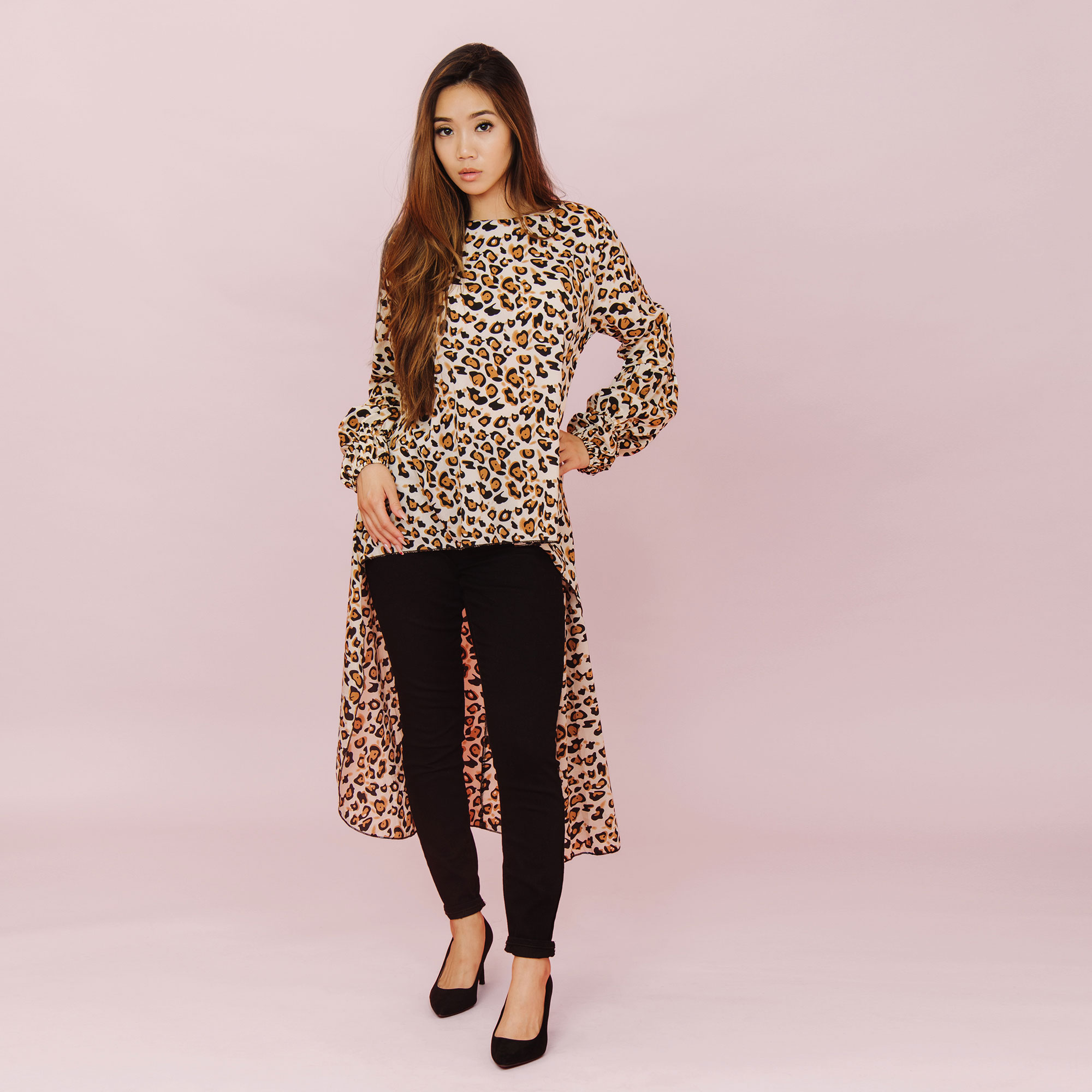 LEOPARD FISH TAIL BLOUSE TOP