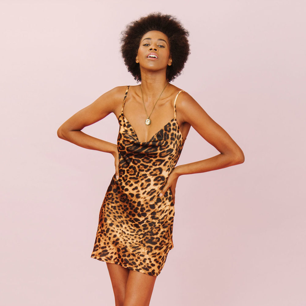 PARTY PREDATOR LEOPARD SPAGHETTI STRAP DRESS