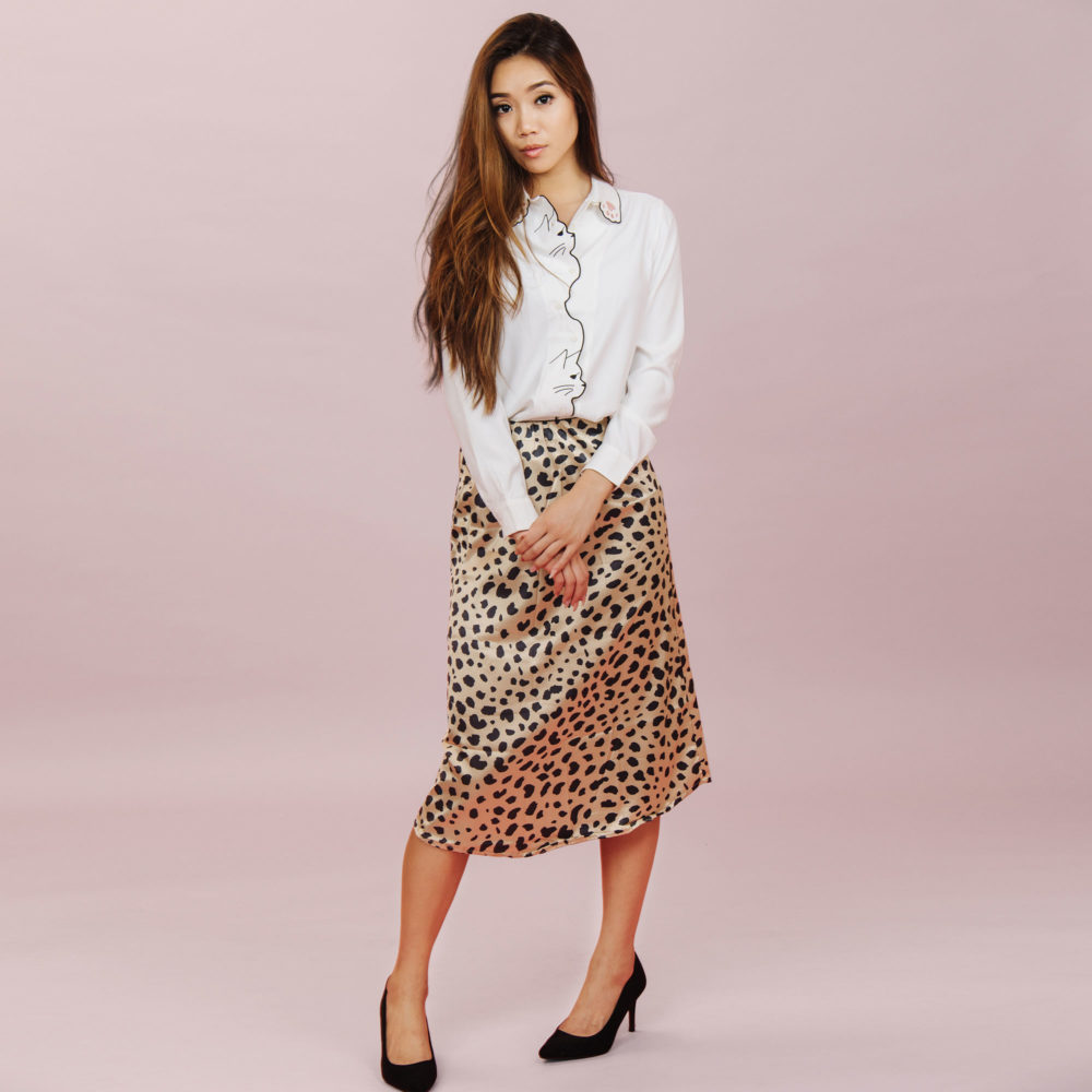 SPOTTED KITTY MIDI SKIRT