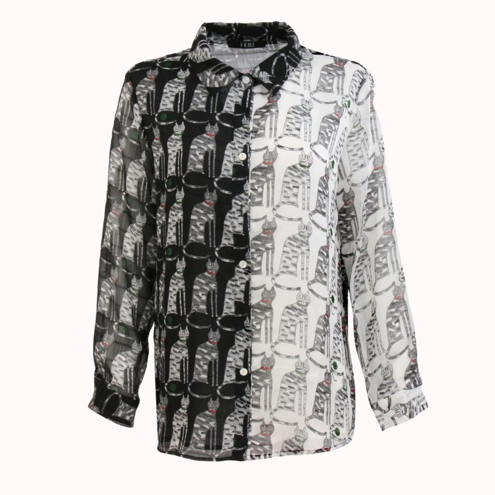 BLACK AND WHITE FELINE BLOUSE