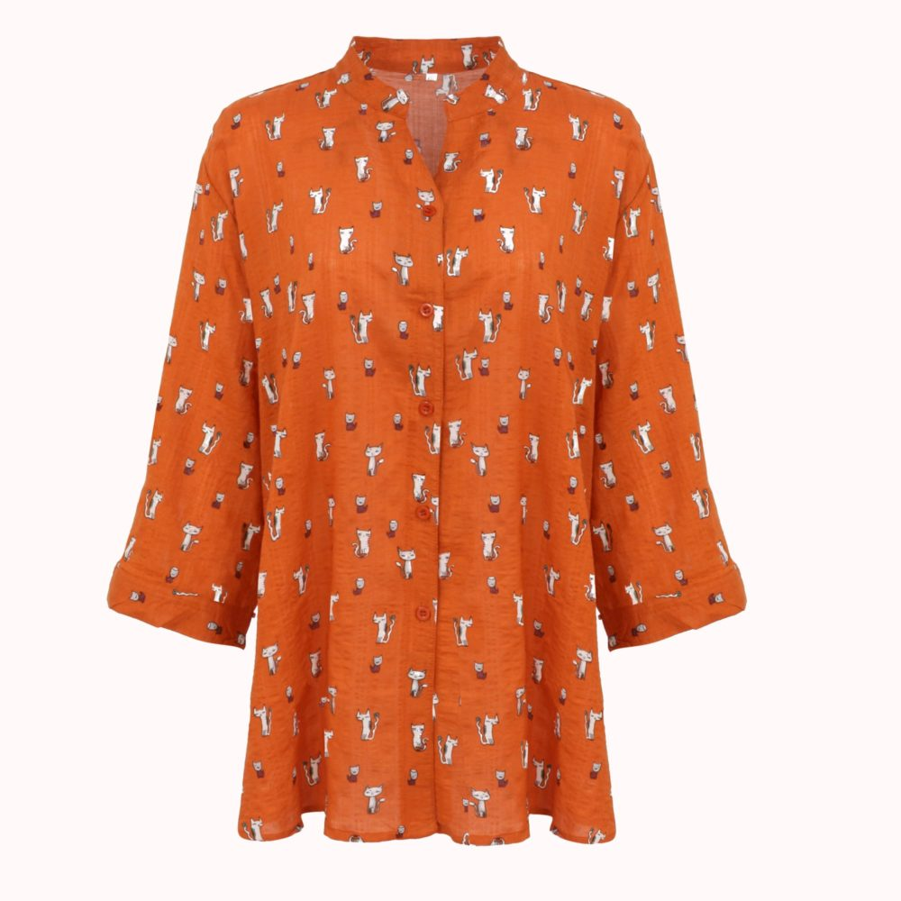 BURNT ORANGE KITTEN TUNIC
