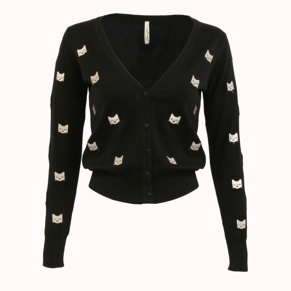 ALL OVER KITTY CARDI SWEATER