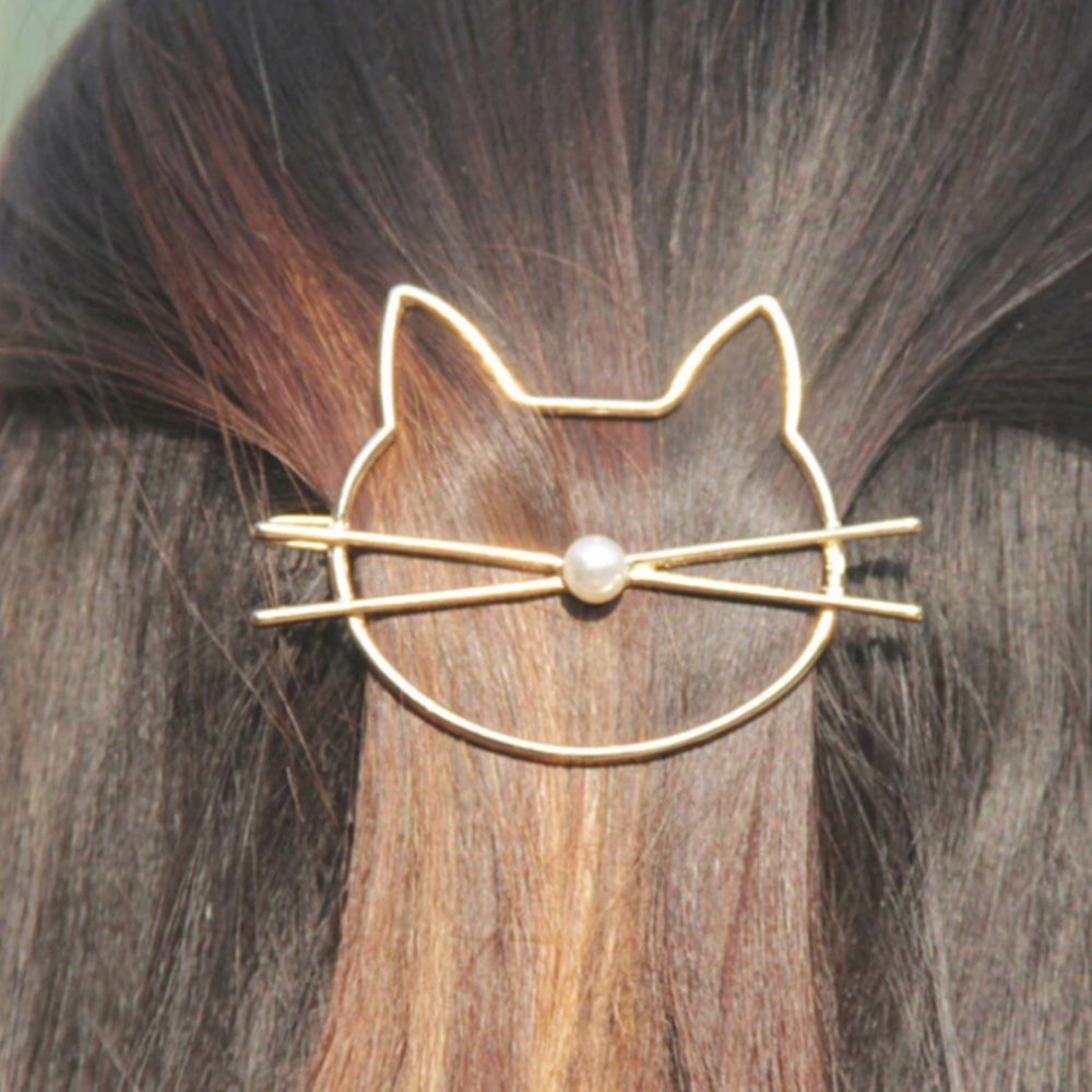 GOLD CAT FACE HAIR CLIP