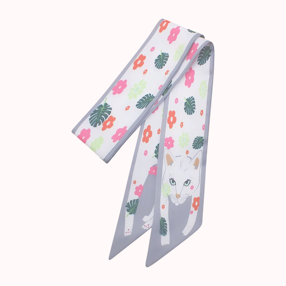 FLORAL KITTY SASH SCARF WHITE