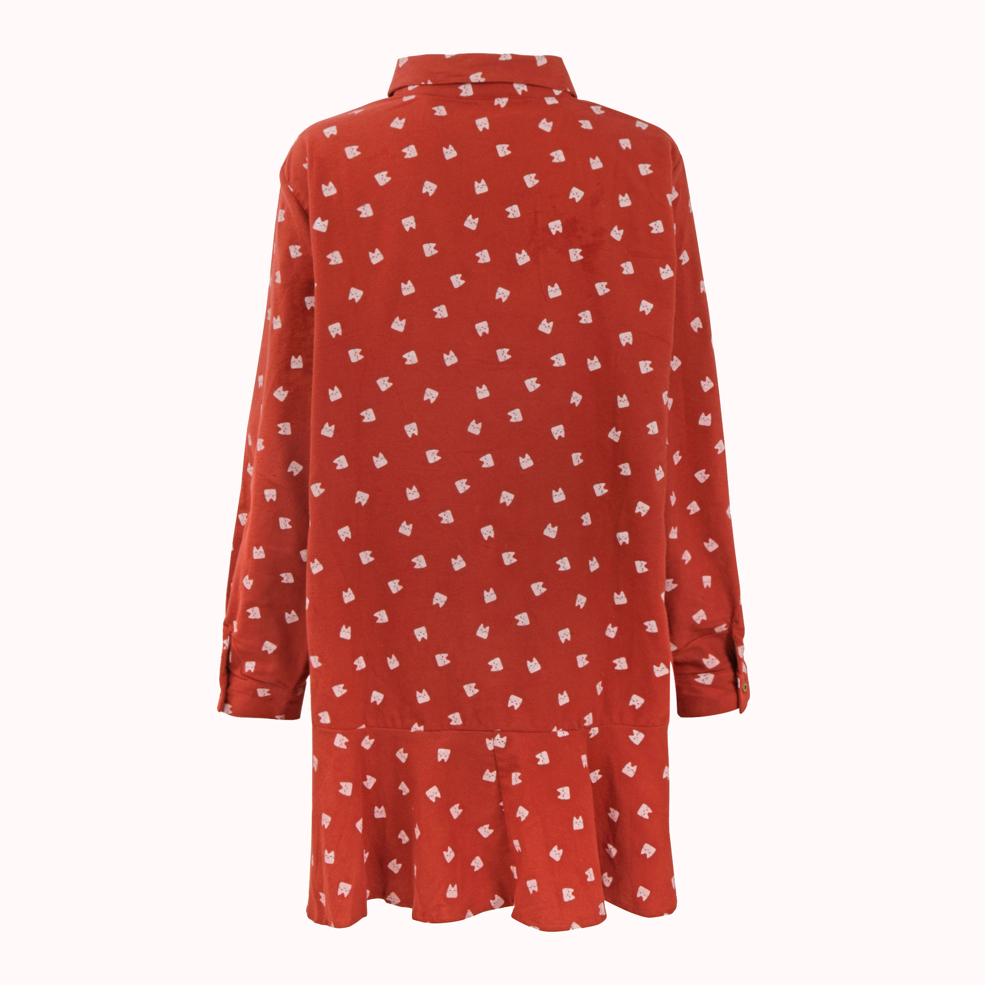 RED KITTY FACE TUNIC DRESS