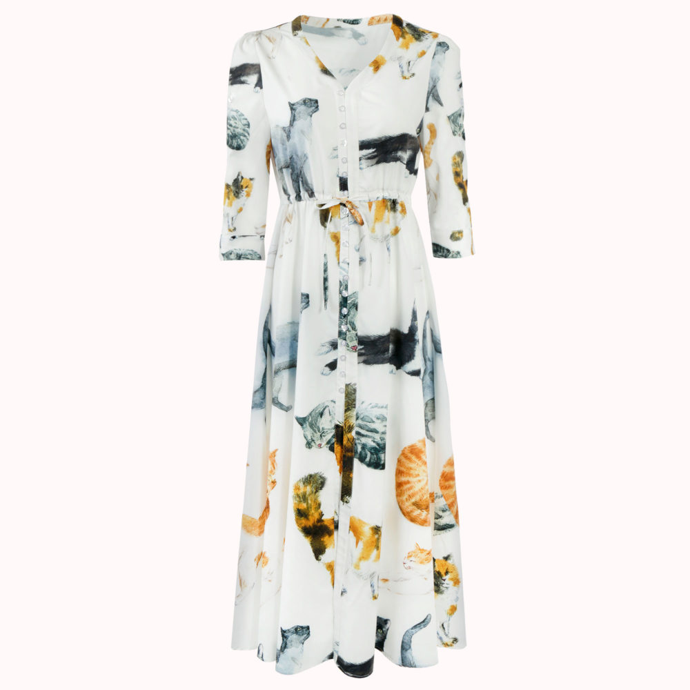 Watercolor Cat Boho Maxi Dress