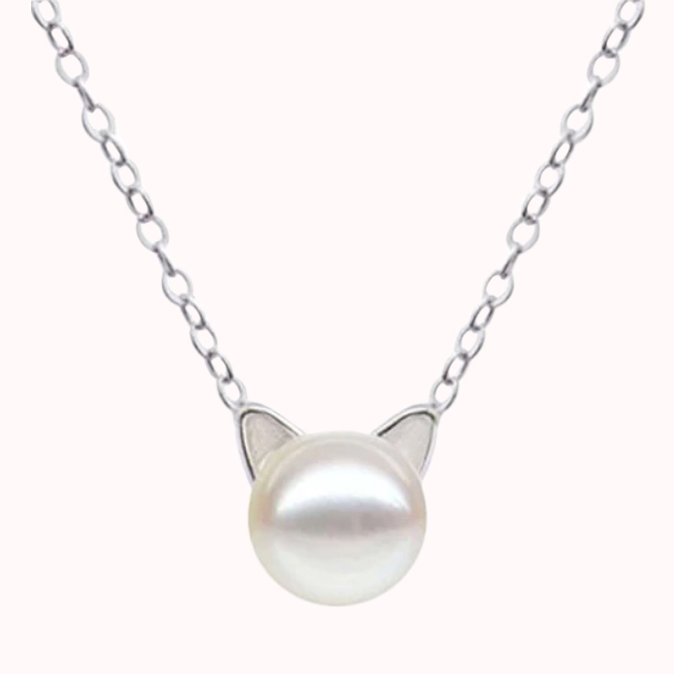 terling-Silver-Cat-Ear-Pearl-Necklaced