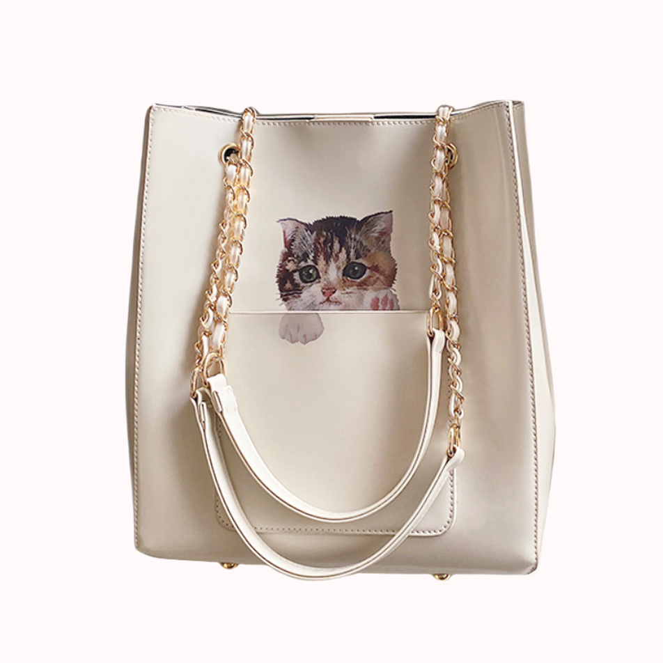 White cat hand bag