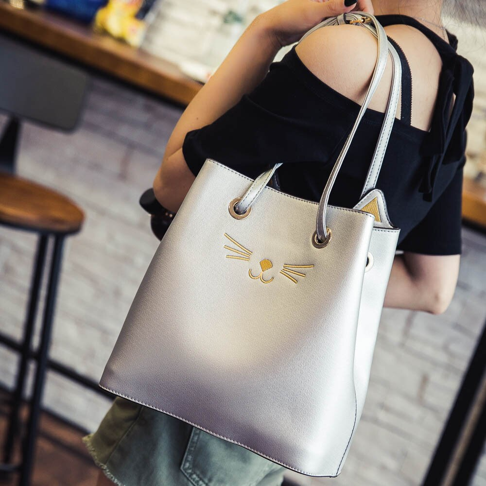 CAT OUTTA THE BAG PURSE- SILVER