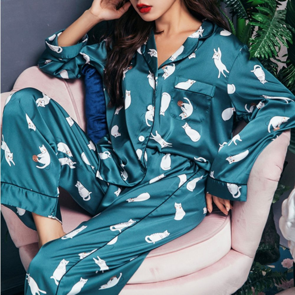 LUXE TEAL KITTEN PAJAMA SET